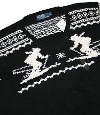 Ralph Lauren Kaschmirmix V- Neck VN Dueling Skiers Black Pullover Gr.L & XL