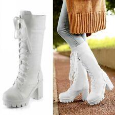 Women Lace Up Mid Calf Boots High Block Heel Platform Non-Slip Riding Shoes Punk