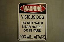 WARNING VICIOUS DOG Beware of Attack Security Not Pet  METAL PVC 9x12 Yard Sign