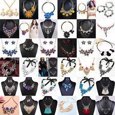 Charm Fashion Rhinestone Statement Bib Chain Choker Pendant Necklace Jewelry