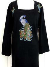 PLUS 3X 3/4 Sleeve Top Embellished Rhinestone & Shiny Studs Peacock Hummingbird