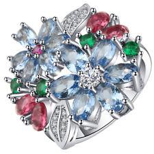 Beautiful Flower Big Blue Sapphire Silver Ring Wedding Fine Jewelry Size6-10