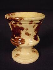 RARE MID-1800s EGG CUP ROCKINGHAM SPONGE YELLOW WARE NEW YORK