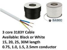 Cable flexible de PVC 3 Core 3183Y Negro Blanco 0.75, 1, 1.5, 2.5MM 6A 10A 16A 25A