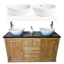 Solid Oak Bathroom Vanity Unit Cabinet Black Quartz & White Ceramic Basin 603