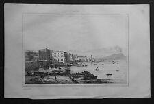 1834.Stampa/Acciaio= Santa Lucia,NAPOLI  = Veduta Gener.Italie Pittoresque.ETNA