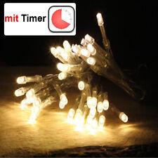 LED Lichterkette 48 / 96 LEDs Timer Batterie warmweiß Innen Zeitschaltuhr Kette