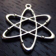 Atom Charms - Wholesale Silver Science Physics Pendants C7380 - 5, 10 Or 20PCs