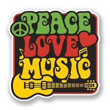 2 X 10 Cm Amor Paz Music pegatina de vinilo Laptop Auto Camper Surf Guitar Kids # 5943