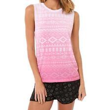True Harmony Women's Ladies Edgy Graphic Prnt Tee Size 10 12 White Pink Tank Top