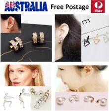 2 PCS CLIP ON HOOP Stud Cuff Earrings Crystal CZ Non Piercing Women Kids SE56