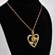 Lovely 14 K Diamond-cuts Beautiful Rose In Heart-shaped Motif Charm/ Pendant