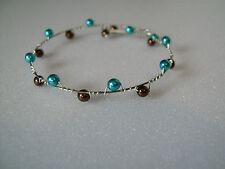 Bracelet Turquoise/Chocolat  pr robe de Mariée/Mariage, perles nacrées original