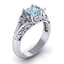Antique Style Jewelry Women Aquamarine Ring Sterling Silver Wedding Gemstones