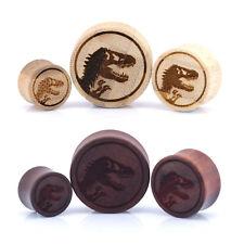 Jurassic Dinosaur Wood Ear Plug - Laser Engraved Bamboo & Rose Wood