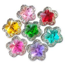 10pcs Starry Flower Acrylic Gem Crystal Flatback Craft Embellishments Cabochons
