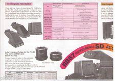 MAMIYA RB 67 PRO-SD SYSTEM ACCESSORIES CHART (ORIGINAL PRINT JAPAN/not copies)