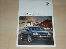 37998) VW Golf Variant Individual Prospekt 11/2008