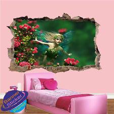 Campo De Flores De Hada Mariposa Niños Habitación Guardería Oficina Pared Adhesivo Mural de Arte XK1