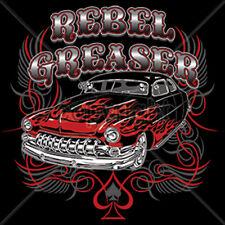 Rebel Greaser Dice Flames Old School Hot Rat Rod Car Auto Racing T-Shirt Tee