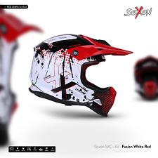 SOXON SKC-33 FUSION-WHITE-RED / KIDS KINDER-CROSS-HELM OFFROAD MOTORRAD-HELM