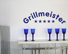 Wandtattoo 'Grillmeister' Wandaufkleber 25 Farben 8 Größen Wandsticker Küche
