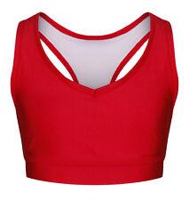 Red & Blue Crop Top Childrens Nylon Lycra | Dance Gymnastics Sports Active wear