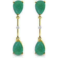 Genuine Emeralds Pear Cut Gems & Diamonds Dangle & Drop Earrings 14K. Solid Gold