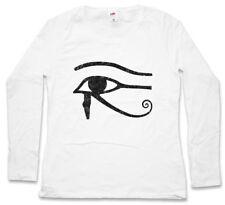 EYE OF HORUS I SIGN DAMEN LANGARM T-SHIRT Ra Falcon Sun God Egypt Cleopatra