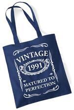 26th regalo di compleanno Tote Shopping Borsa in cotone vintage 1991 in scadenza alla perfezione