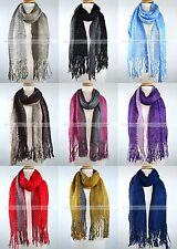 Winter Thick Scarf Warm Knit Tassel Fringe Fishnet Net Two Color Design Fashion