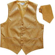 New Vesuvio Napoli Men's paisley formal Tuxedo Vest Waistcoat_Necktie Gold