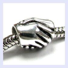 Sterling Silver Friendship Hand Shake Friend Bead for European Charm Bracelet