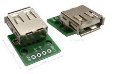 USB-2 Buchse mit Platine, Löt-Kontakte, Leiterplatte zum Löten, Lötbuchse PCB