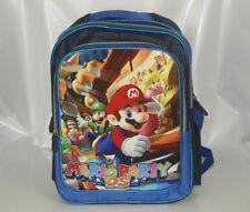 """16"""" Backpack School Book Bag Blue - Super Mario Bros Party DS PEACH LUIGI WARIO"""