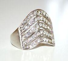 ANELLO donna argento fedina strass brillantini cristalli san valentino regalo 32