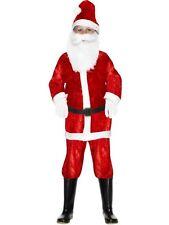 BOYS SMIFFYS FATHER CHRISTMAS SANTA CLAUS VELOUR SUIT OUTFIT FANCY DRESS COSTUME