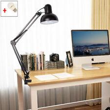 LED Long Swing Arm Desk Lamp W Clamp Metal Adjustable Light Reading Black/ White