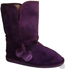 BOOTS Stiefel Kunstfell violett Schuhe Bommel blau Winterstiefel 35 36 37 Neu