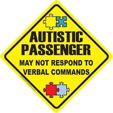 Autistic Passenger Warning Vinyl Decal May Not Respond Autism Awareness window