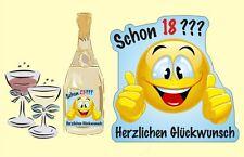 Flaschenetikett Geburtstag Aufkleber Smilie Sektflasche selbstkl. viele Sorten