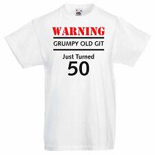 Men's Graphic 50th Birthday T-shirt - Warning Grumpy Old Git Just Turned 50