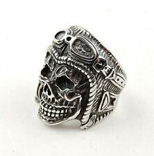 Stainless Steel Leather Helmet Skull Ring - Free Gift Packaging