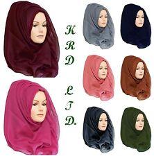 Ladies Plain Hijab Maxi Large Viscose/Rayon Shawl Scarf Sarong Wrap Big Cape UK