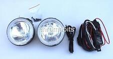 """UNIVERSAL 12v CLEAR ROUND FOG SPOT LIGHTS LAMPS LIGHT WIRING KIT 101MM 4"""" E-MARK"""