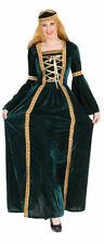 Burgfräulein Kostüm Kleid Mittelalter-Kleid Magd Damen-Kostüm grün gold KK