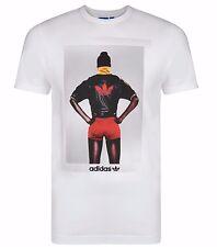 Men's New Adidas Originals Trefoil Graphic Logo T-Shirt Top - White - Retro