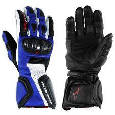 Guanto Sportivo Pista Moto Tecnico Protezioni Carbonio Professionale Pelle Blue