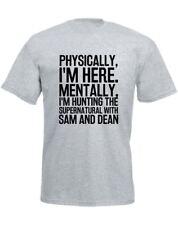 Hunting the Supernatural with Sam & Dean Slogan Printed Mens T-Shirt Casual Tee
