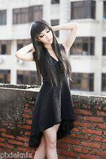 Gothic Brocade Dress Black Sleeveless Asymmetric Witch Summer Occult R060092